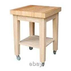 Kitchen Cart Unfinished Wood Full Overlay With 2.75 in. Thick Butcher Block Top