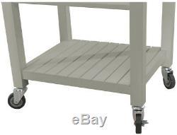 Kitchen Cart Utility Table Island Portable Mobile Wood Butchers Block Top Wheels