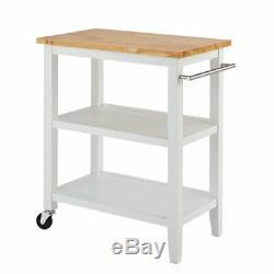 Kitchen Cart with Wood Top 100% solid rubberwood butcher block top Steel Handle