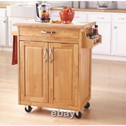 Kitchen Island Cart with Drawer, Spice Rack, Towel Bar, Butcher Block Top, Natu