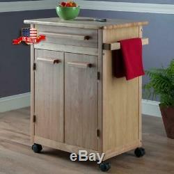 Kitchen Island Rolling Cart Portable Utility Storage Cabinet Wood Butcher Block
