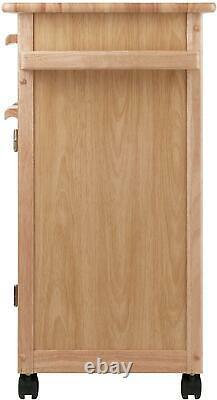 Kitchen Island Rolling Cart Utility Storage Cabinet Wood Butcher Block Portable