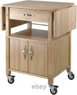 Kitchen Island Solid Wood Utility Cart Butcher Block Rolling Storage Cabinet NEW
