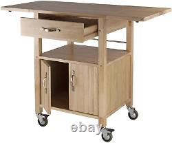 Kitchen Island Solid Wood Utility Cart Rolling Storage Butcher Block Cabinet