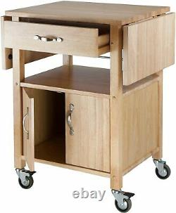 Kitchen Island Storage Cart Drop Leaf Table Cabinet Food Prep Butcher Block Roll
