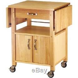 Kitchen Microwave Cart Drop Leaf Storage Organizer Utility Rolling Wood Cabinet