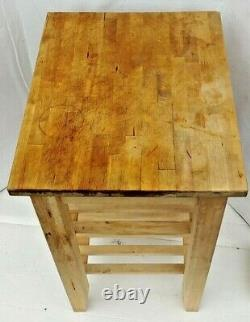 Kitchen Table Cart Butcher Block Top Food Carrier Dish Dolly Natural Wood