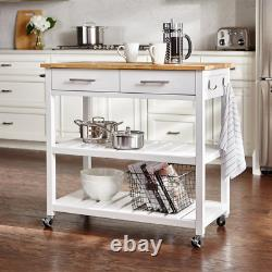 Kitchen Table Cart Butcher Block Top Food Carrier Dish Dolly White Natural Wood