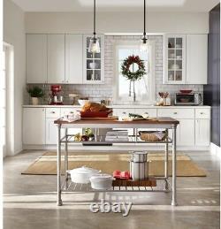 Kitchen Utility Table 2-Shelves Metal Base Vintage Carmel Finish with Levelers
