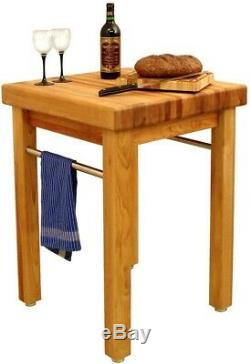 Kitchen Utility Table 24 in. Natural Wood Thick Butcher Block Top Stable Base
