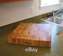 Large Wood Cutting Board 18x18 Brick Slab End Grain Butcher Block Cutting Board