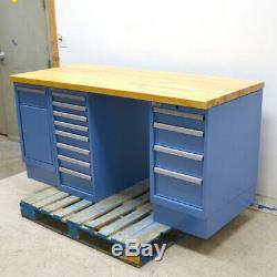Lista Butcherblock Wood-Top 13-Drawer 1-Cabinet 72 x 30 x 35 Blue Workbench