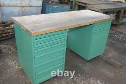 Lista Wooden workbench two cabinets butcher block wood tool storage INV=29847