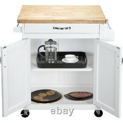 Mainstays Kitchen Cart with Drawer, Spice Rack, Towel Bar, Butcher Block Top