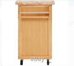 Mainstays Kitchen Cart with Drawer, Spice Rack, Towel Bar, Butcher Block Top, Na