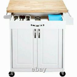 Mainstays Kitchen Island Cart with Drawer, Solid Wood Butcher Block Top, White