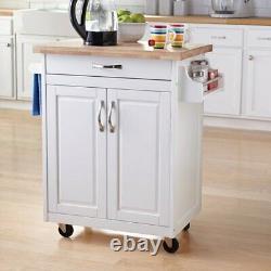 Mainstays Kitchen Island Cart with Drawer, Spice Rack, Towel Bar, Butcher Block