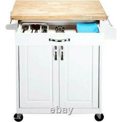Mainstays Luxury Island Kitchen Cart with Drawer, Butcher Block Top, White