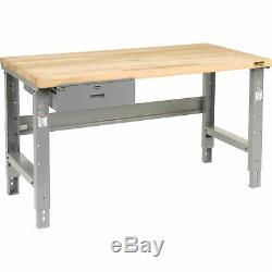 Maple Butcher Block Square Edge Top Workbench with Drawer, 60W x 30D, Gray