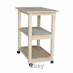 Microwave Cart Butcher Block Kitchen Storage Rolling Stand Island Shelf Wood