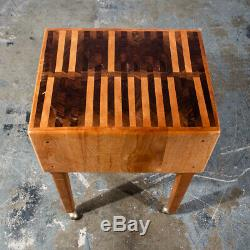Mid Century Modern Butcher Block Rolling Table Serving Cart Maple Cutting Board
