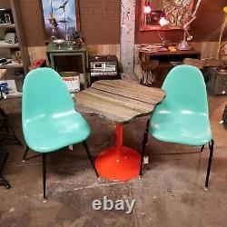 Mid Century Modern Eames Era Metal & Butchers Block Pedestal Bistro Table MCM