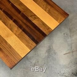 Milo Baughman Directional Mixed Woods Butcher Block Dining Table