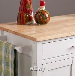 Mobile Butcher Block Top Kitchen Cart Cabinet Wood Island Storage on Wheels