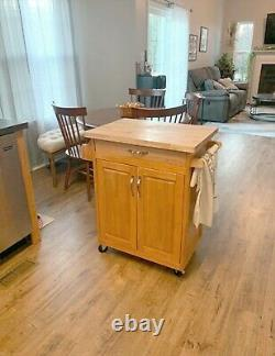 Mobile Kitchen Cart Island Top Solid Wood Cutting Board Butcher Block Wheels New