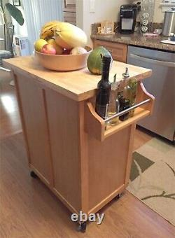 Mobile Kitchen Island Cart on Wheels Solid Wood Butcher Block Top Cutting Board