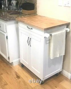Mobile Kitchen Island Top Cutting Board Solid Wood Butcher Block Cart on Wheels