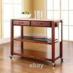 Natural Wood Top Kitchen Cart/Island with Optional Stool Storage in Classic