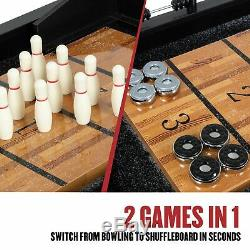 New 2 in 1 Shuffleboard Bowling Table Arcade Game Butcher Block Wood Vintage
