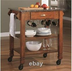 Oak Finish kitchen Cart Island With Granite like Top And Wine Storage 910009