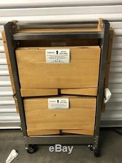 Oasis Island Folding Kitchen Cart Portable Butcher Block 2 Shelf Cart SS/wood