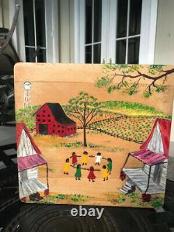 Original Chris Clark Folk art painting -10 by 9 1/2 in. On butcher block