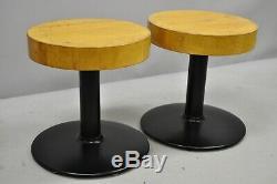 Pair of Vintage Round Butcher Block Wood Industrial Cast Iron Pedestal Stools