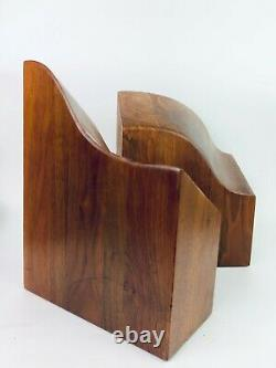 Pair of Wood Mid Century Modern Sculptural Butcher Block Bookends
