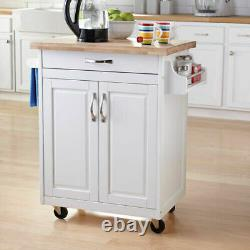 Portable Kitchen Island Cart with Drawer Spice Rack Towel Bar Butcher Block Top