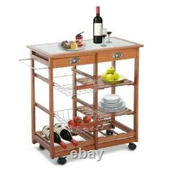 Portable Rolling Tile Top Kitchen Trolley Butchers Block Cart with Wine Rack