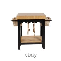 Powell Color Story Black Natural Butcher Block Kitchen Island