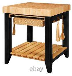 Powell Color Story Wood Butcher Block Kitchen Island in Black