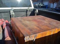 RARE Vintage Maple Butcher Block Table, Kitchen Island. Custom made wheel cart