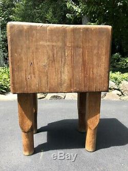 RARE Vintage Solid Wood Butcher Block Table 34Hx24Wx18D. Over 100lbs