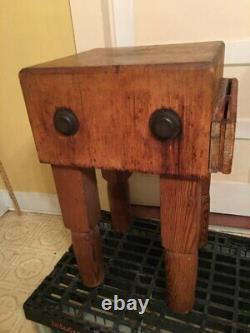 REDUCED Vintage Hardwood Butcher Block Perfect Size 18x18 Antique