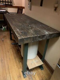 Rare Vintage 5 Feet Long, 3 Inches Thick Maple Wood Butcher Block