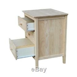 Ready-to-finish 3-drawer Nightstand with Butcher Block Unfinished 3-drawer