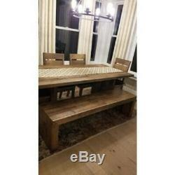 Reclaimed Wood Dining Bench Farmhouse Entryway Sturdy Pine Butcher Block Seating