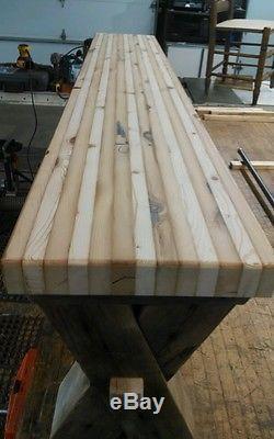 Reclaimed barn wood bench salvaged butcher block