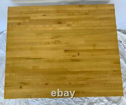 Restaurant Butcher Block Table WithBase 30x25x30H & Two 33H Silver Metal Chairs